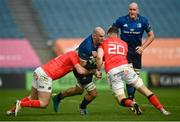 27 March 2021; Rhys Ruddock of Leinster is tackled by James Cronin, left, and Jack O'Donoghue of Munster during the Guinness PRO14 Final match between Leinster and Munster at the RDS Arena in Dublin. Photo by David Fitzgerald/Sportsfile