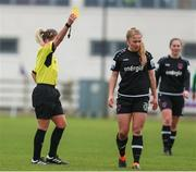 27 March 2021; Ellen Molloy of Wexford Youths receives a yellow card from referee Claire Purcell during the SSE Airtricity Women's National League match between Wexford Youths and Peamount United at Ferrycarrig Park in Wexford. Photo by Michael P Ryan/Sportsfile