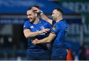 27 March 2021; James Lowe, left, and Dave Kearney of Leinster celebrate following the Guinness PRO14 Final match between Leinster and Munster at the RDS Arena in Dublin. Photo by Ramsey Cardy/Sportsfile