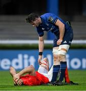 27 March 2021; Ryan Baird of Leinster and Tadhg Beirne of Munster following the Guinness PRO14 Final match between Leinster and Munster at the RDS Arena in Dublin. Photo by Ramsey Cardy/Sportsfile