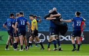 27 March 2021; Devin Toner and Scott Fardy of Leinster celebrate following the Guinness PRO14 Final match between Leinster and Munster at the RDS Arena in Dublin. Photo by Brendan Moran/Sportsfile