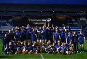 27 March 2021; Leinster players celebrate with the PRO14 trophy following the Guinness PRO14 Final match between Leinster and Munster at the RDS Arena in Dublin. Photo by Ramsey Cardy/Sportsfile