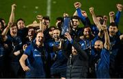27 March 2021; Devin Toner, left and Michael Bent, right, of Leinster lift the PRO14 trophy alongside teammates following the Guinness PRO14 Final match between Leinster and Munster at the RDS Arena in Dublin. Photo by Brendan Moran/Sportsfile