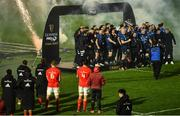 27 March 2021; Munster players look on as Leinster lift the trophy following the Guinness PRO14 Final match between Leinster and Munster at the RDS Arena in Dublin. Photo by David Fitzgerald/Sportsfile