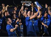 27 March 2021; Devin Toner of Leinster lifts the PRO14 trophy alongside his team-mates after the Guinness PRO14 Final match between Leinster and Munster at the RDS Arena in Dublin. Photo by Ramsey Cardy/Sportsfile