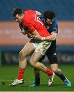 27 March 2021; Chris Farrell of Munster is tackled by Robbie Henshaw of Leinster during the Guinness PRO14 Final match between Leinster and Munster at the RDS Arena in Dublin. Photo by David Fitzgerald/Sportsfile