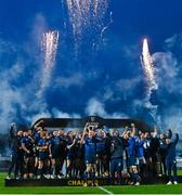27 March 2021; Devin Toner, left, and Michael Bent of Leinster lift the PRO14 trophy alongside team-mates following the Guinness PRO14 Final match between Leinster and Munster at the RDS Arena in Dublin. Photo by Ramsey Cardy/Sportsfile