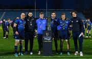 27 March 2021; Leinster back rows, from left, Rhys Ruddock, Josh Murphy, Sean O'Brien, Jack Conan, Josh van der Flier and Alex Soroka, with the PRO14 trophy following their victory in the Guinness PRO14 Final match between Leinster and Munster at the RDS Arena in Dublin. Photo by Ramsey Cardy/Sportsfile