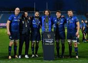 27 March 2021; Leinster second row forwards, from left, Devin Toner, Josh Murphy, Scott Fardy, Jack Dunne, Ryan Baird and Ross Molony, with the PRO14 trophy following their victory in the Guinness PRO14 Final match between Leinster and Munster at the RDS Arena in Dublin. Photo by Ramsey Cardy/Sportsfile