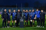 27 March 2021; Leinster front row forwards, from left, Peter Dooley, James Tracy, Cian Healy, Michael Bent, Andrew Porter, Ed Byrne, Rónan Kelleher, Tadhg Furlong, Dan Sheehan and Seán Cronin, with the PRO14 trophy following their victory in the Guinness PRO14 Final match between Leinster and Munster at the RDS Arena in Dublin. Photo by Ramsey Cardy/Sportsfile