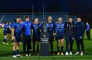 27 March 2021; Leinster players, from left, Hugo Keenan, Max O'Reilly, Jordan Larmour, James Lowe, Dave Kearney, Cian Kelleher and Andrew Smith with the PRO14 trophy following their victory in the Guinness PRO14 Final match between Leinster and Munster at the RDS Arena in Dublin. Photo by Ramsey Cardy/Sportsfile