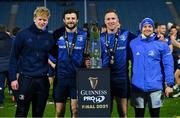 27 March 2021; Leinster players, from left, Jamie Osborne, Robbie Henshaw, Rory O'Loughlin and Liam Turner, with the PRO14 trophy following their victory in the Guinness PRO14 Final match between Leinster and Munster at the RDS Arena in Dublin. Photo by Ramsey Cardy/Sportsfile