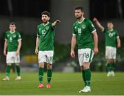 27 March 2021; Robbie Brady, left, and Shane Long of Republic of Ireland during the FIFA World Cup 2022 qualifying group A match between Republic of Ireland and Luxembourg at the Aviva Stadium in Dublin. Photo by Seb Daly/Sportsfile