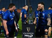 27 March 2021; Tadhg Furlong, left, and Andrew Porter of Leinster following their side's victory in the Guinness PRO14 Final match between Leinster and Munster at the RDS Arena in Dublin. Photo by Ramsey Cardy/Sportsfile
