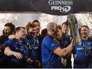 27 March 2021; Leinster players, from left, Cian Healy, Josh van der Flier, Jack Conan, Devin Toner, Ryan Baird and Dave Kearney celebrate following their side's victory in the Guinness PRO14 Final match between Leinster and Munster at the RDS Arena in Dublin. Photo by Ramsey Cardy/Sportsfile