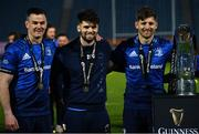 27 March 2021; Leinster out halves, from left, Jonathan Sexton, Harry Byrne and Ross Byrne, with the PRO14 trophy following their side's victory in the Guinness PRO14 Final match between Leinster and Munster at the RDS Arena in Dublin. Photo by Ramsey Cardy/Sportsfile