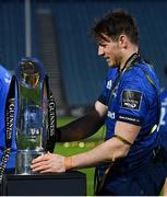 27 March 2021; Ryan Baird of Leinster with the PRO14 trophy following his side's victory in the Guinness PRO14 Final match between Leinster and Munster at the RDS Arena in Dublin. Photo by Ramsey Cardy/Sportsfile