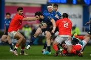 27 March 2021; Robbie Henshaw of Leinster is tackled by Niall Scannell of Munster during the Guinness PRO14 Final match between Leinster and Munster at the RDS Arena in Dublin. Photo by Ramsey Cardy/Sportsfile