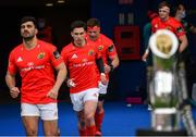 27 March 2021; Munster players, from left, Damian de Allende, Joey Carbery and CJ Stander prior to the Guinness PRO14 Final match between Leinster and Munster at the RDS Arena in Dublin. Photo by Ramsey Cardy/Sportsfile