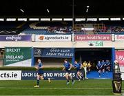 27 March 2021; Leinster players run out prior to the Guinness PRO14 Final match between Leinster and Munster at the RDS Arena in Dublin. Photo by Ramsey Cardy/Sportsfile