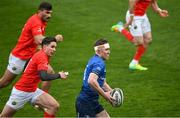 27 March 2021; Rory O'Loughlin of Leinster in action against Joey Carbery of Munster during the Guinness PRO14 Final match between Leinster and Munster at the RDS Arena in Dublin. Photo by Ramsey Cardy/Sportsfile