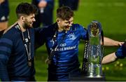 27 March 2021; Brothers Harry Byrne, left, and Ross Byrne of Leinster with the the PRO14 trophy after the Guinness PRO14 Final match between Leinster and Munster at the RDS Arena in Dublin. Photo by Brendan Moran/Sportsfile
