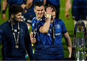 27 March 2021; Leinster players, from left, Harry Byrne, Jonathan Sexton and Ross Byrne with the the PRO14 trophy after the Guinness PRO14 Final match between Leinster and Munster at the RDS Arena in Dublin. Photo by Brendan Moran/Sportsfile