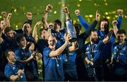 27 March 2021; Devin Toner of Leinster and his teammates celebrate with the the PRO14 trophy after the Guinness PRO14 Final match between Leinster and Munster at the RDS Arena in Dublin. Photo by Brendan Moran/Sportsfile