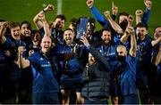 27 March 2021; Leinster players, from left, Devin Toner, Michael Bent and Scott Fardy lift the PRO14 trophy alonfside their teammates after the Guinness PRO14 Final match between Leinster and Munster at the RDS Arena in Dublin. Photo by Brendan Moran/Sportsfile