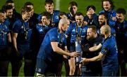 27 March 2021; Leinster player, from left, Devin Toner, Michael Bent and Scott Fardy prepare to lift the PRO14 trophy after the Guinness PRO14 Final match between Leinster and Munster at the RDS Arena in Dublin. Photo by Brendan Moran/Sportsfile