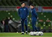 27 March 2021; Republic of Ireland coaches Keith Andrews, left, and Anthony Barry before the FIFA World Cup 2022 qualifying group A match between Republic of Ireland and Luxembourg at the Aviva Stadium in Dublin. Photo by Seb Daly/Sportsfile
