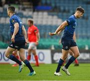 27 March 2021; Ross Byrne of Leinster, right, leaves the pitch as he is replaced by substitute Jonathan Sexton during the Guinness PRO14 Final match between Leinster and Munster at the RDS Arena in Dublin. Photo by Brendan Moran/Sportsfile