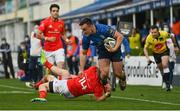 27 March 2021; Rónan Kelleher of Leinster is tackled by Andrew Conway of Munster during the Guinness PRO14 Final match between Leinster and Munster at the RDS Arena in Dublin. Photo by Brendan Moran/Sportsfile