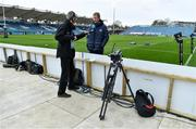 27 March 2021; Leinster head coach Leo Cullen is interviewed by RTE radio journalist Gary Moran prior to the Guinness PRO14 Final match between Leinster and Munster at the RDS Arena in Dublin. Photo by Brendan Moran/Sportsfile