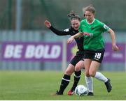 27 March 2021; Becky Watkins of Peamount United in action against Aisling Frawley of Wexford Youths during the SSE Airtricity Women's National League match between Wexford Youths and Peamount United at Ferrycarrig Park in Wexford. Photo by Michael P Ryan/Sportsfile