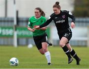 27 March 2021; Ciara Rossiter of Wexford Youths in action against Lucy McCartan of Peamount United during the SSE Airtricity Women's National League match between Wexford Youths and Peamount United at Ferrycarrig Park in Wexford. Photo by Michael P Ryan/Sportsfile