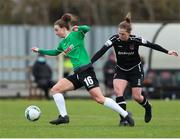 27 March 2021; Karen Duggan of Peamount United in action against Edel Kennedy of Wexford Youths during the SSE Airtricity Women's National League match between Wexford Youths and Peamount United at Ferrycarrig Park in Wexford. Photo by Michael P Ryan/Sportsfile