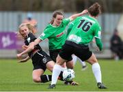 27 March 2021; Ellen Molloy of Wexford Youths in action against Lucy McCartan and Karen Duggan of Peamount United during the SSE Airtricity Women's National League match between Wexford Youths and Peamount United at Ferrycarrig Park in Wexford. Photo by Michael P Ryan/Sportsfile