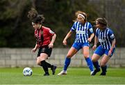 27 March 2021; Naima Chemaou of Bohemians in action against Alannah Mitchell, left, and Eve O'Sullivan of Treaty United during the SSE Airtricity Women's National League match between Bohemians and Treaty United at Oscar Traynor Centre in Coolock, Dublin. Photo by Piaras Ó Mídheach/Sportsfile