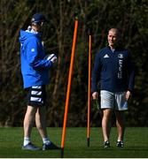 29 March 2021; Head coach Leo Cullen, left, in conversation with senior coach Stuart Lancaster during Leinster Rugby squad training at UCD in Dublin. Photo by Ramsey Cardy/Sportsfile