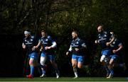 29 March 2021; Leinster players, from left, Michael Bent, Tadhg Furlong, Andrew Porter, Scott Fardy and Rónan Kelleher during Leinster Rugby squad training at UCD in Dublin. Photo by Ramsey Cardy/Sportsfile