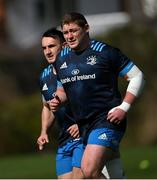 29 March 2021; Tadhg Furlong, right, and Rónan Kelleher during Leinster Rugby squad training at UCD in Dublin. Photo by Ramsey Cardy/Sportsfile
