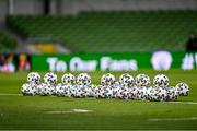 27 March 2021; A view of footballs prior to the FIFA World Cup 2022 qualifying group A match between Republic of Ireland and Luxembourg at the Aviva Stadium in Dublin. Photo by Eóin Noonan/Sportsfile