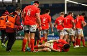 27 March 2021; Peter O'Mahony of Munster lies injured during the Guinness PRO14 Final match between Leinster and Munster at the RDS Arena in Dublin. Photo by David Fitzgerald/Sportsfile