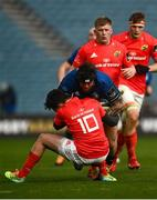 27 March 2021; Andrew Porter of Leinster is tackled by Joey Carbery of Munster during the Guinness PRO14 Final match between Leinster and Munster at the RDS Arena in Dublin. Photo by David Fitzgerald/Sportsfile