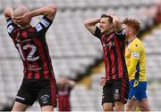 27 March 2021; Keith Buckley of Bohemians, right, and team-mate Georgie Kelly reacts to a missed opportunity during the SSE Airtricity League Premier Division match between Bohemians and Longford Town at Dalymount Park in Dublin. Photo by Sam Barnes/Sportsfile