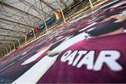 30 March 2021; The flags of Qatar, Republic of Ireland, FIFA and UEFA hang in Nagyerdei Stadion before the international friendly match between Qatar and Republic of Ireland at Nagyerdei Stadion in Debrecen, Hungary. Photo by Stephen McCarthy/Sportsfile