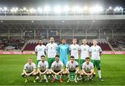 30 March 2021; The Republic of Ireland team, back row, from left, Cyrus Christie, Shane Duffy, Gavin Bazunu, Dara O'Shea, Jeff Hendrick and James McClean with, front row, from left, Daryl Horgan, Shane Long, Robbie Brady, Seamus Coleman and Jayson Molumby ahead of the international friendly match between Qatar and Republic of Ireland at Nagyerdei Stadion in Debrecen, Hungary. Photo by Stephen McCarthy/Sportsfile