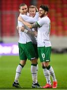 30 March 2021; James McClean of Republic of Ireland celebrates after scoring his side's first goal with team-mates, Jeff Hendrick, left, and Robbie Brady, right, during the international friendly match between Qatar and Republic of Ireland at Nagyerdei Stadion in Debrecen, Hungary. Photo by Stephen McCarthy/Sportsfile