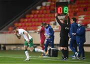 30 March 2021; Troy Parrott of Republic of Ireland makes his way onto the pitch, after being substituted on for team-mate Robbie Brady, during the international friendly match between Qatar and Republic of Ireland at Nagyerdei Stadion in Debrecen, Hungary. Photo by Stephen McCarthy/Sportsfile